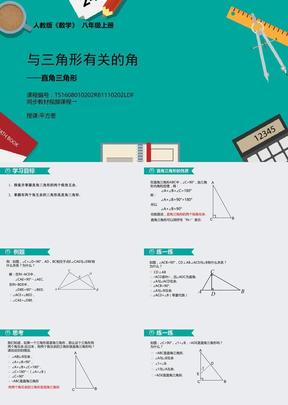 人教版数学八年级上第十一章11.2.2与三角形有关的角(二)——直角三角形.ppt
