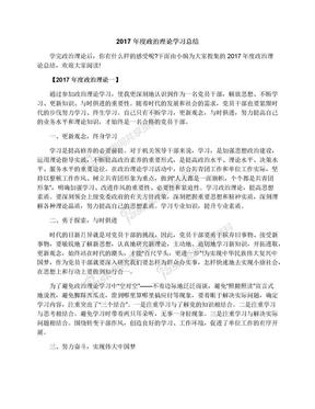 2017年度政治理论学习总结.docx
