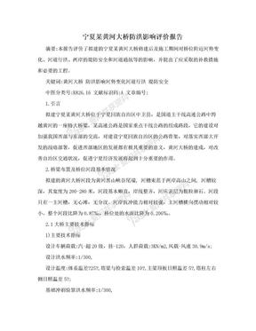 宁夏某黄河大桥防洪影响评价报告.doc