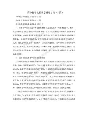 高中化学实验教学反思总结(2篇).doc