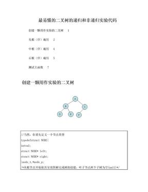二叉树的非递归和递归遍历C语言详解.doc