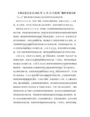 吉林石化分公司2005年11月13日双苯厂爆炸事故分析.doc
