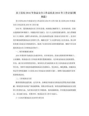 县工信局2016年食品安全工作总结及2016年工作计划(精简篇).doc