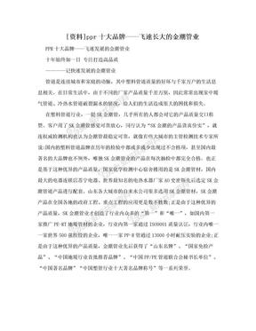[资料]ppr十大品牌——飞速长大的金潮管业.doc