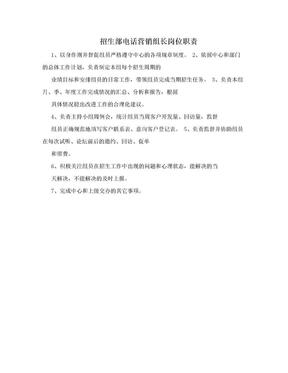 招生部电话营销组长岗位职责.doc