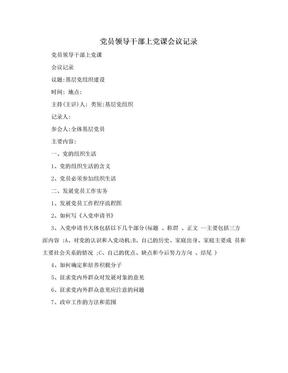 党员领导干部上党课会议记录.doc