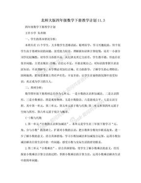 北师大版四年级数学下册教学计划11.3