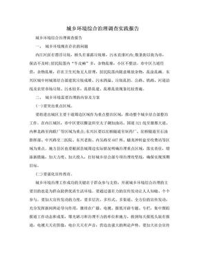 城乡环境综合治理调查实践报告.doc