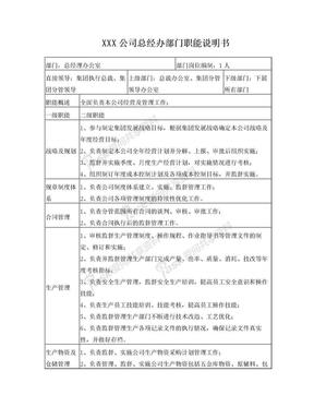XX公司总经办部门职能说明书.doc