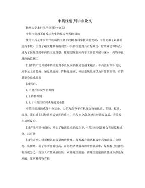 中药注射剂毕业论文.doc
