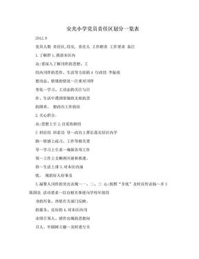 安光小学党员责任区划分一览表.doc