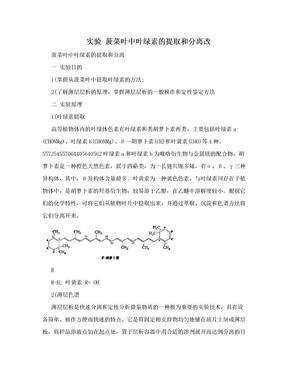 实验 菠菜叶中叶绿素的提取和分离改.doc