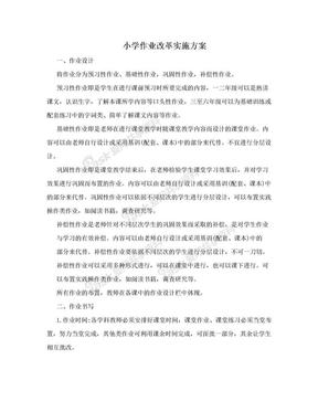 小学作业改革实施方案.doc