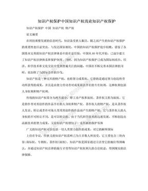 知识产权保护中国知识产权浅论知识产权保护.doc
