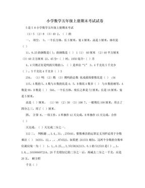 小学数学五年级上册期末考试试卷.doc