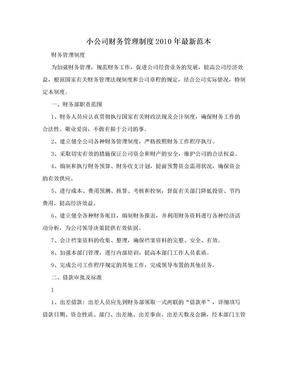 小公司财务管理制度2010年最新范本.doc