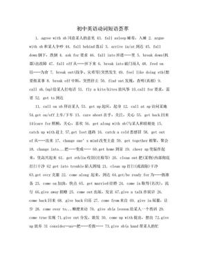 初中英语动词短语荟萃.doc