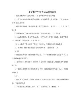 小学数学毕业考试试题及答案.doc