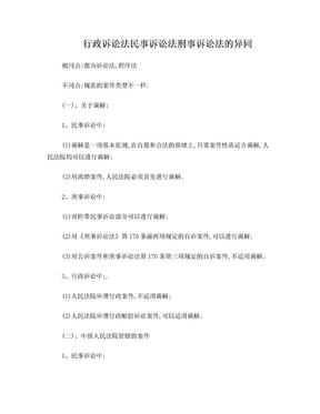 行政诉讼法 民事诉讼法 刑事诉讼法的异同.doc