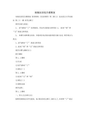 初级汉语综合课教案.doc