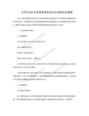 小学2018年春季食堂食品安全事故应急预案.doc