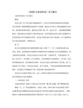 [原创]大唐耒阳电厂实习报告.doc