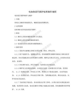 电加热蒸汽锅炉标准操作规程.doc