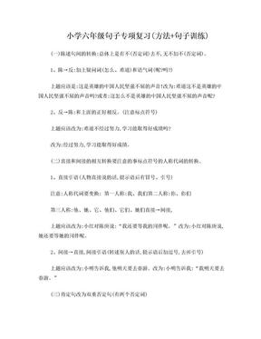 小学六年级句子专项复习(方法 句子训练).doc