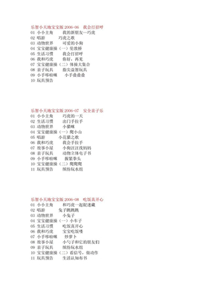 巧虎乐智小天地宝宝版-幼幼版2006-2008目录