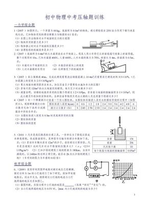 历年物理中考压轴题.doc
