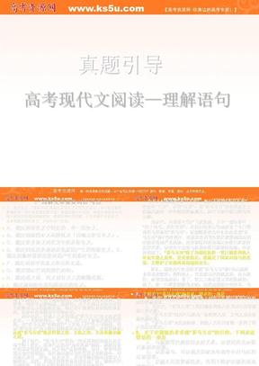 2012届高考语文二轮复习阅读指导课件:现代文阅读 鉴赏语句