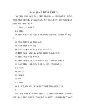 急诊儿科护士分层次培训计划.doc