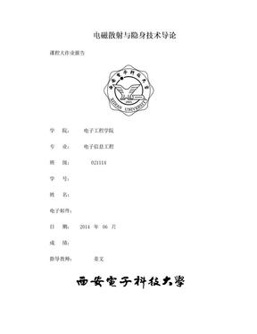 西电电磁散射与隐身技术导论大作业.doc