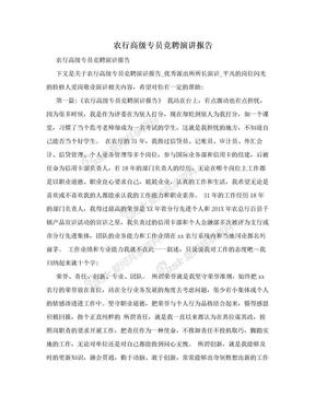 农行高级专员竞聘演讲报告.doc