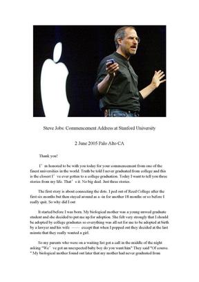 乔布斯在斯坦福大学2005年毕业典礼上的演讲.doc