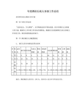 年度酒店行政人事部工作总结.doc