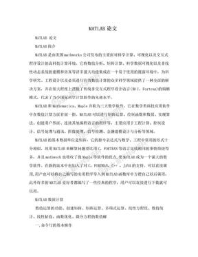 MATLAB论文.doc