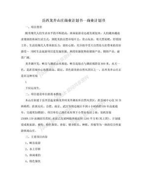 岳西龙井山庄商业计划书--商业计划书.doc