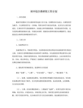 初中综合教研组工作计划.doc