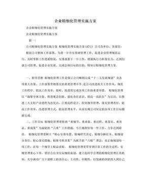 企业精细化管理实施方案.doc