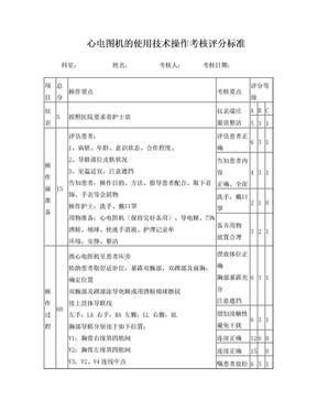 心电图机的使用操作考核评分标准.doc