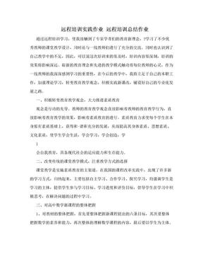 远程培训实践作业 远程培训总结作业.doc