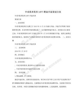 中甬优米优米LOFT楼盘开盘策划方案.doc