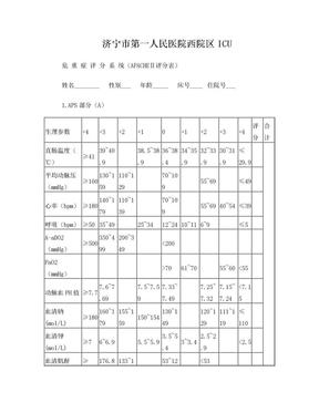 危 重 症 评 分 系 统(APACHEⅡ评分表)定稿.doc