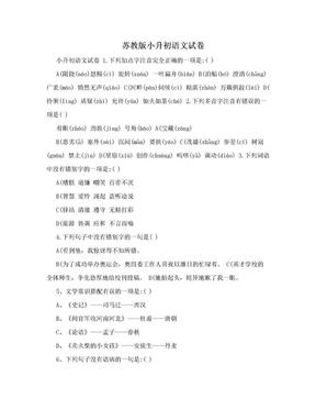 苏教版小升初语文试卷.doc