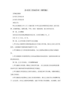 公司员工劳动合同(简约版).doc
