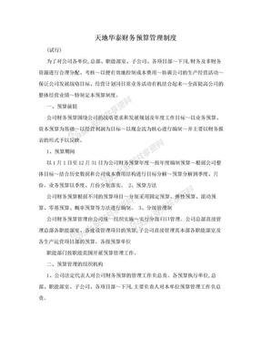 天地华泰财务预算管理制度.doc