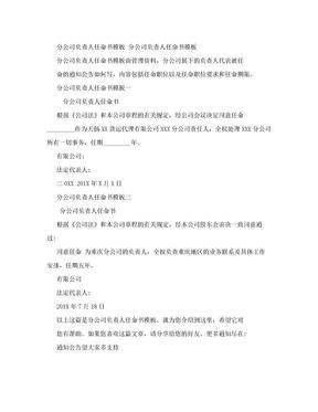 分公司负责人任命书模板(范本).doc