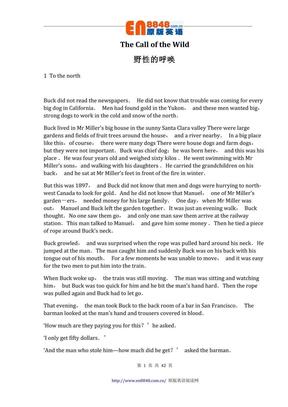 牛津书虫系列···野性的呼唤中英对照.pdf