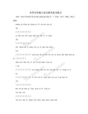 小学五年级上语文拼音复习练习.doc